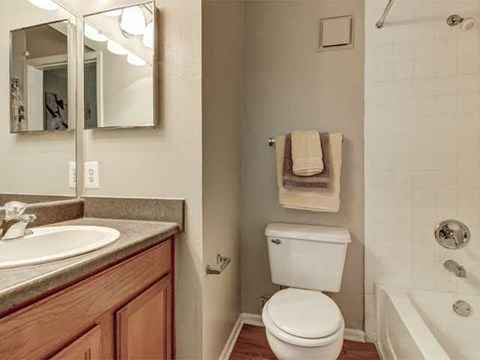 Bathroom with soaking tub and towel racks