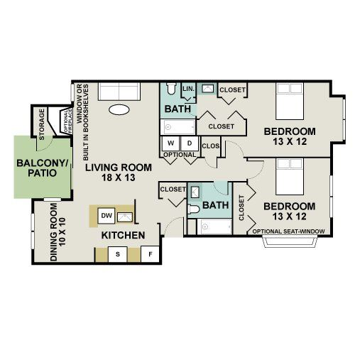 Clydesdale Floorplan - 2 bed, 2 bath, 1,053 square feet.