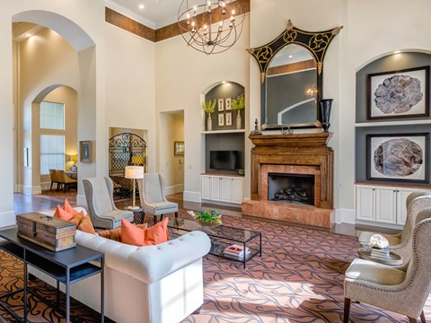 Stunning community lounge with fire place