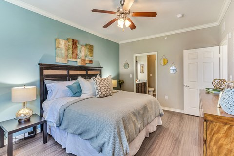 Large Master Bedroom with Lots of Natural Light, hard wood floors and ceiling fans