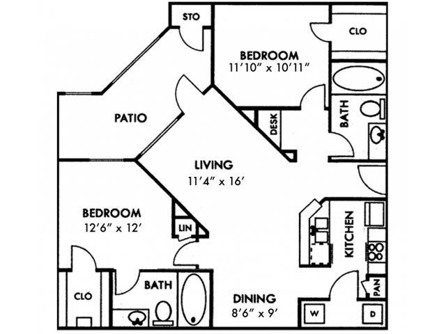 Two Bedroom B1 Floor Plan 4