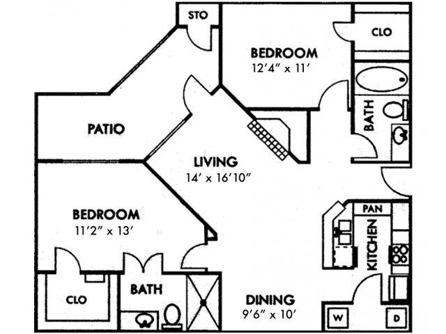 Two Bedroom B2 Floor Plan 5