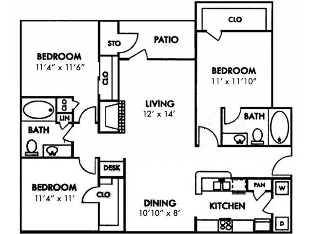 Three Bedroom C1 Floor Plan 6
