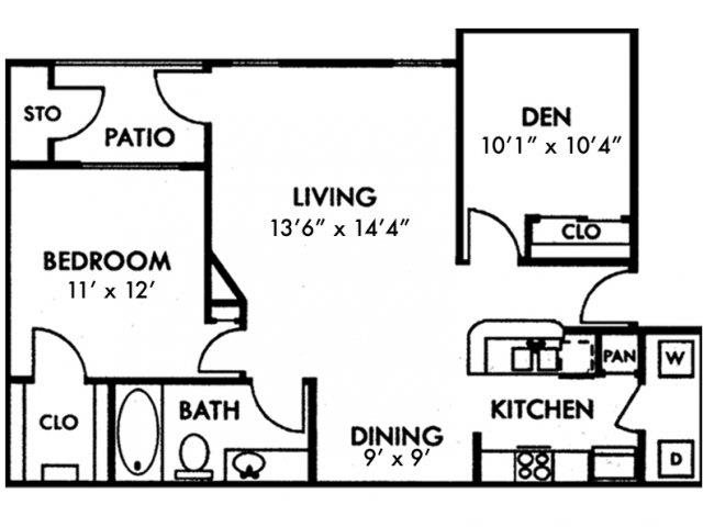 One Bedroom A3 with Den Floor Plan 3