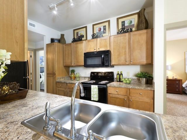 Kitchen with dual sink and black appliance package