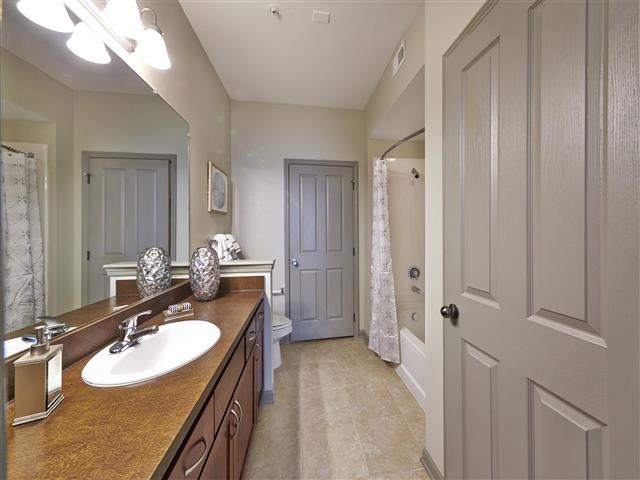 Master bathroom with large vanity, closet entrance, and soaking tub/shower