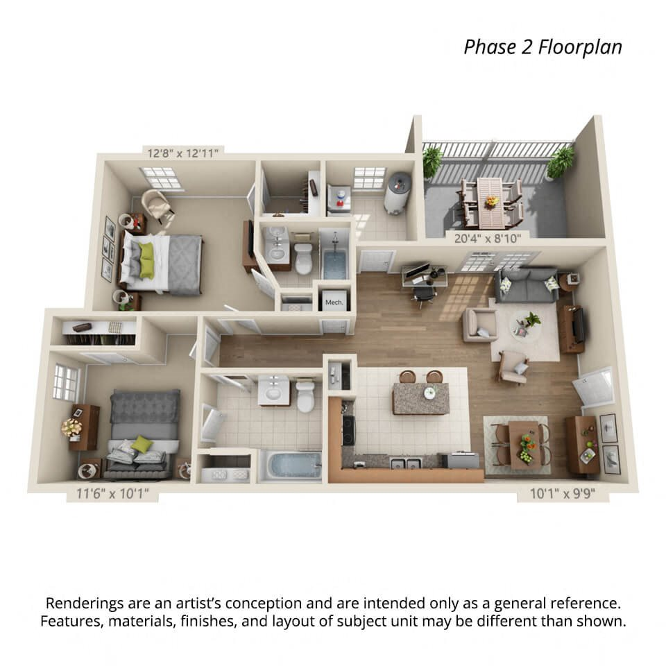 2 bedroom 3d floorplan Phase 2 for Town View Apartments Elizabethton