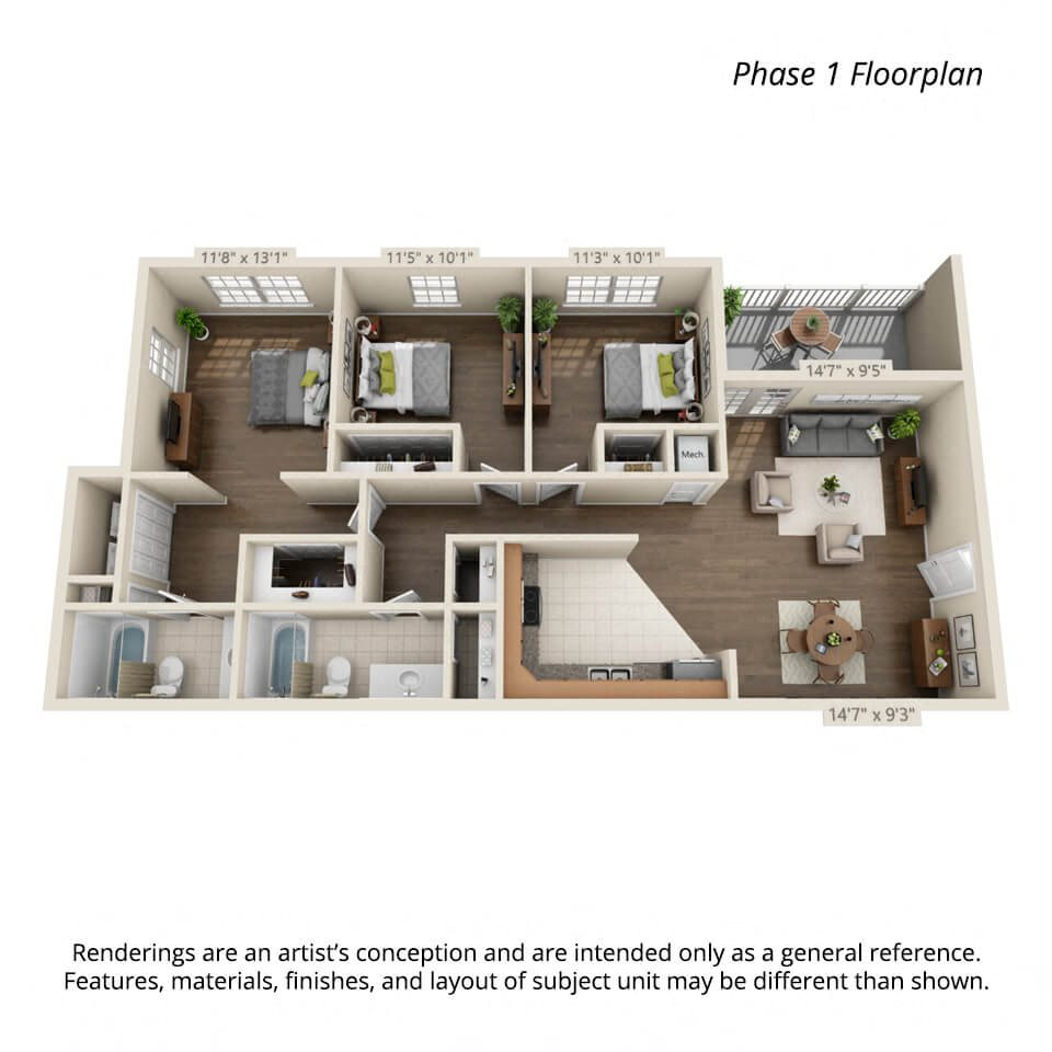 3 bedroom 3d floorplan Phase 1 for Town View Apartments Elizabethton