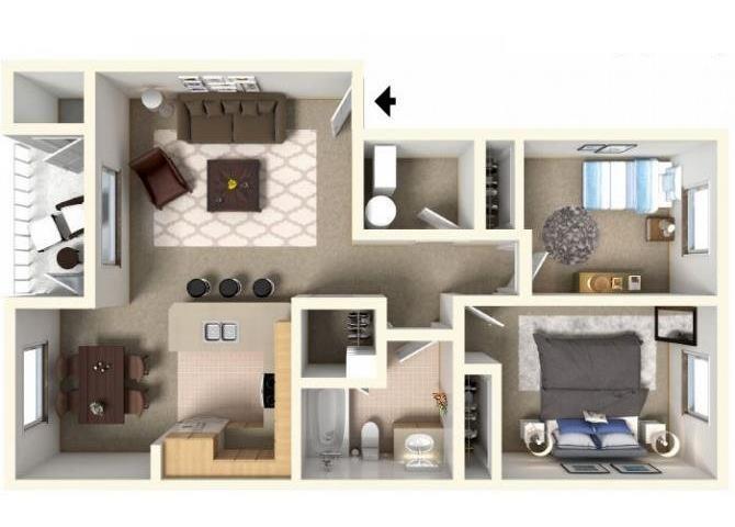 2 BED Floor Plan 2