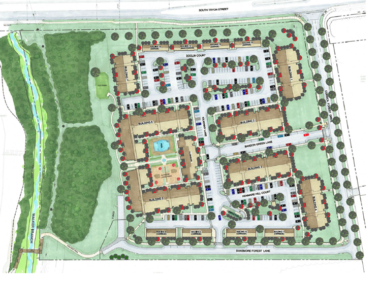 aerial rendering view of The Haven at Rivergate garden apartment community in Charlotte, NC 28273