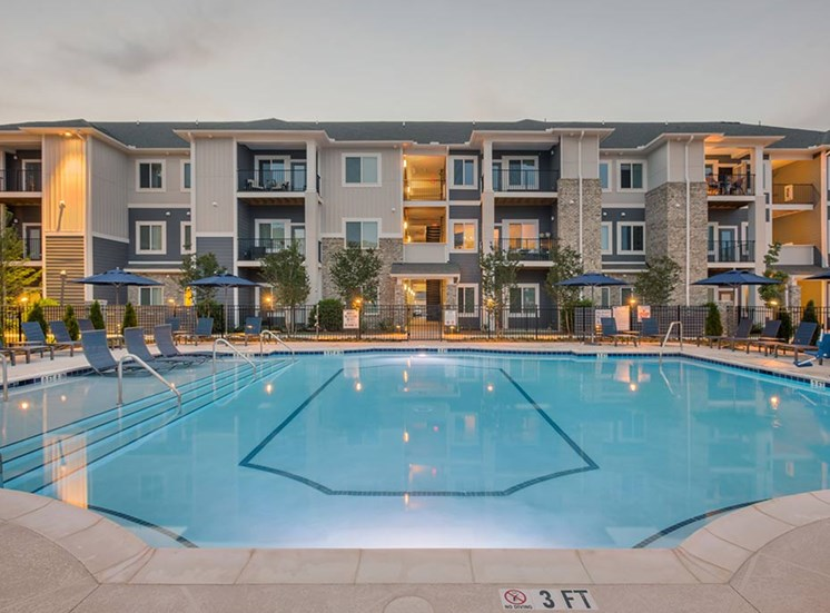 Swimming Pool And Relaxing Area at The Haven at Rivergate, Charlotte, North Carolina