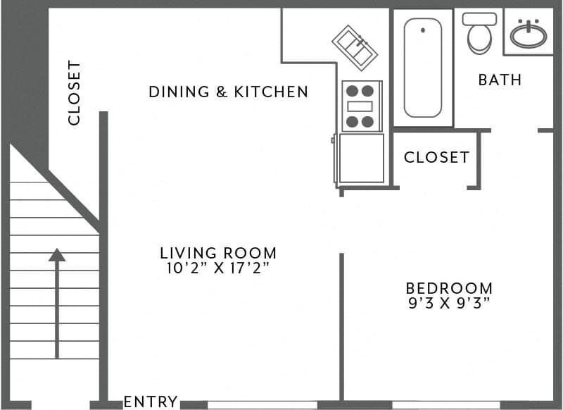 Efficiency apartment floor plan