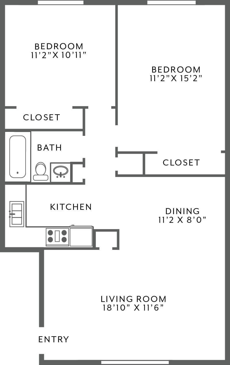 1 bedroom townhome floor plan