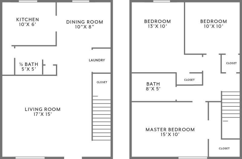 3 bedroom townhome floor plan