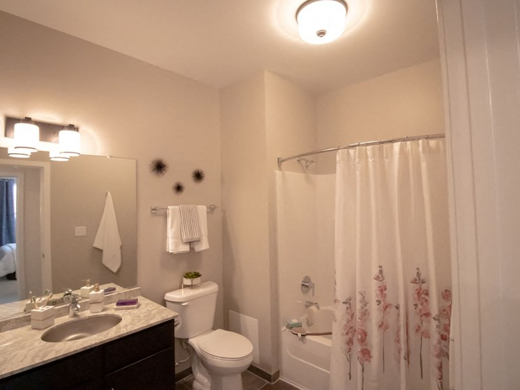 Every apartment at Penstock Quarter enjoys a spacious bathroom. Select units available with stand up showers.