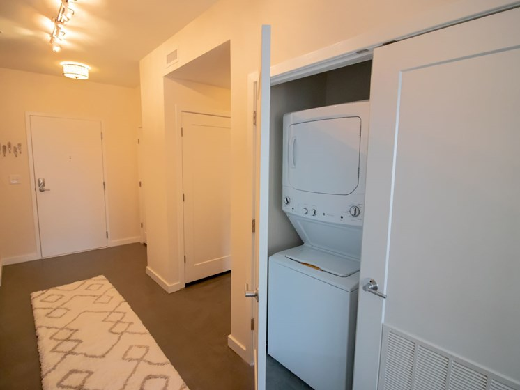 All apartments at Penstock Quarter come equipped with a stackable washer and dryer within the apartment.