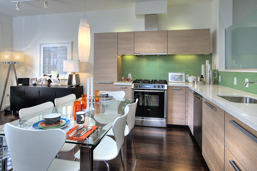 Modern Kitchens with Custom Cabinetry and Quartz Countertops at Berkeley Central, California, 94704