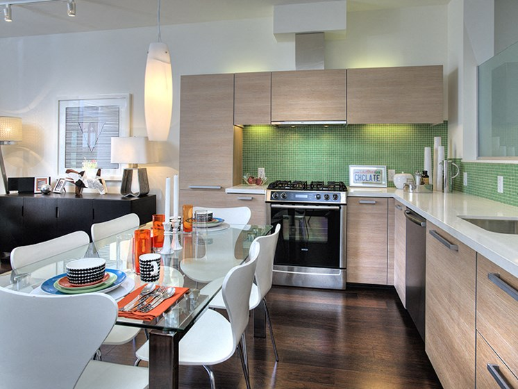 Kitchens with Custom Cabinetry and Quartz Countertops at Berkeley Central, California, 94704