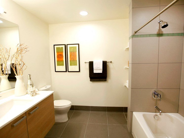 Baths Finished with Custom Cabinetry, Porcelain Soaking Tubs and High-End Fixtures at Berkeley Central, Berkeley, California