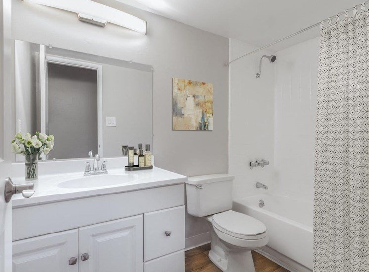 Bathroom with white cabinets, high-end finishes, a single sink, mounted mirror, tolient and shower/tub combo.