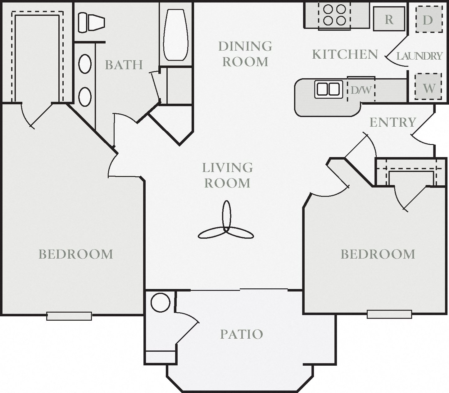 Aubourn Two Bed One Bath Floor Plan, at North Pointe Apartment Homes, California, 95688