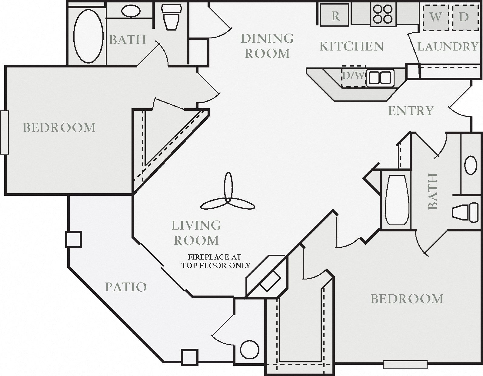 Carthage Two Bed Two Bath Floor Plan, at North Pointe Apartment Homes, CA, 95688