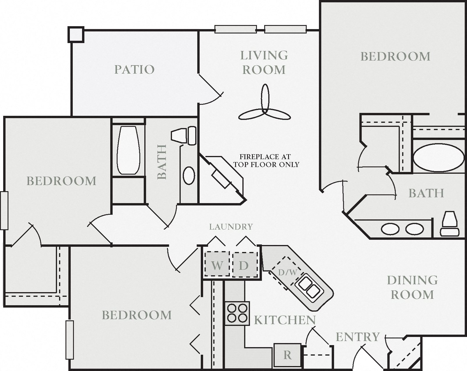 Dunmoor Three Bed Two Bath Floor Plan, at North Pointe Apartment Homes, 6801 Leisure Town Road, CA