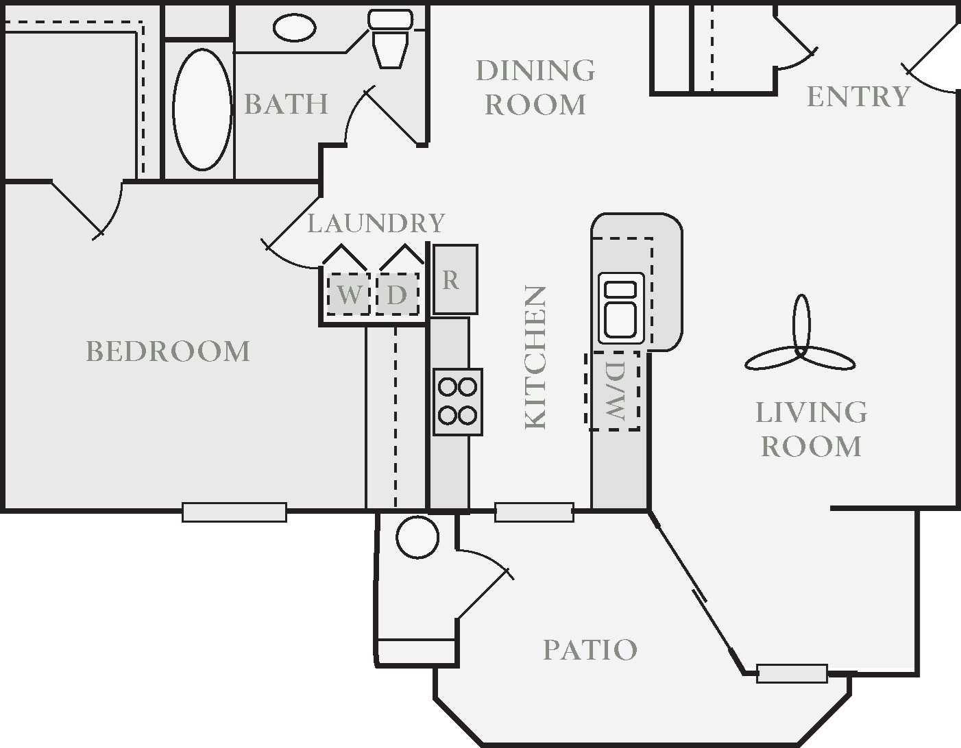 Abercromby One Bed One Bath Floor Plan, at North Pointe Apartment Homes, Vacaville, 95688