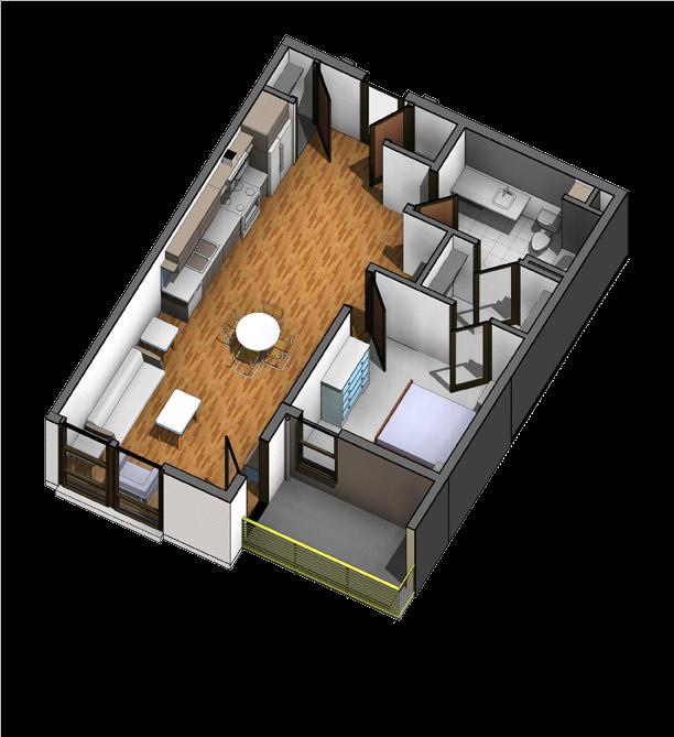 A1 1Bedroom 1 Bathroom