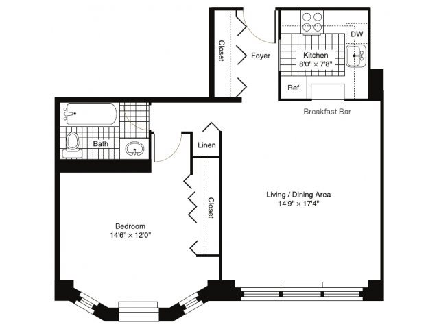 1 BEDROOM 1 BATH - A, B, C Floor Plan 3