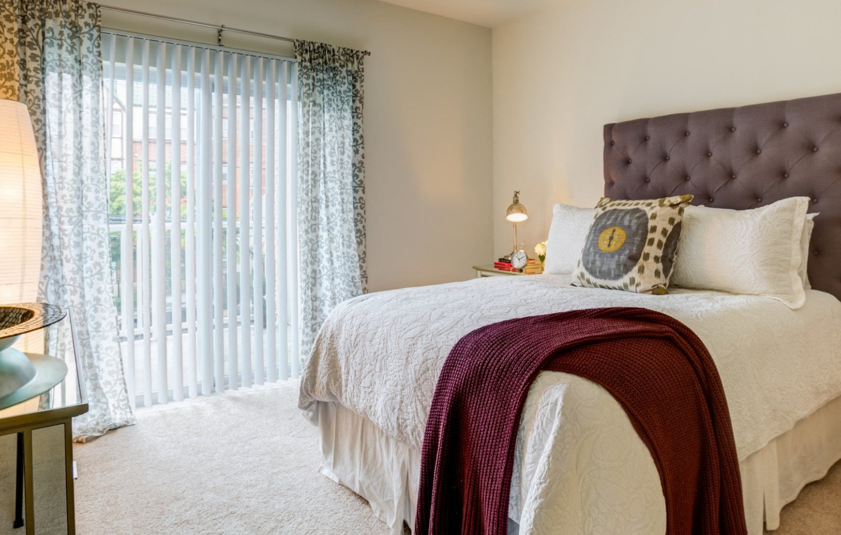 spacious bedroom with carpets and high ceilings Apartments in Stamford, CT | Glenview House