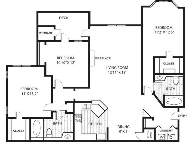 Floor plans of hannover grand at sandy springs in atlanta ga - 3 bedroom apartments in atlanta ga ...