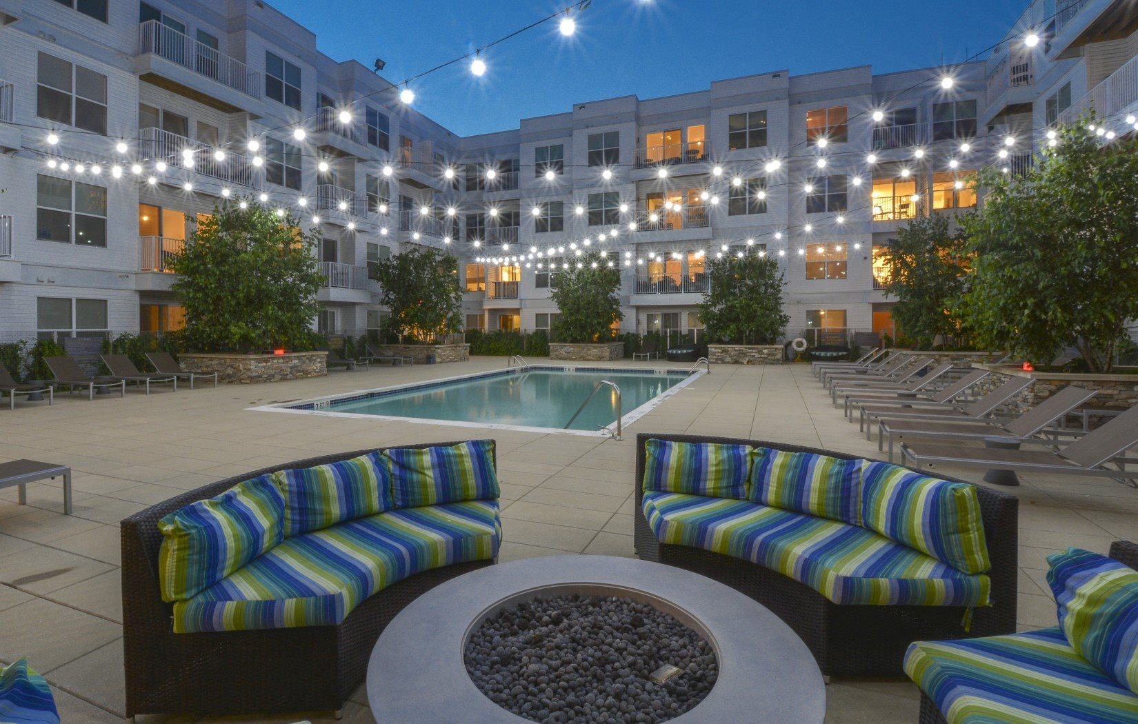 Swimming Pool area Night Time | 75 Tresser Stamford CT