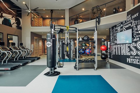 24-hour two level fitness center