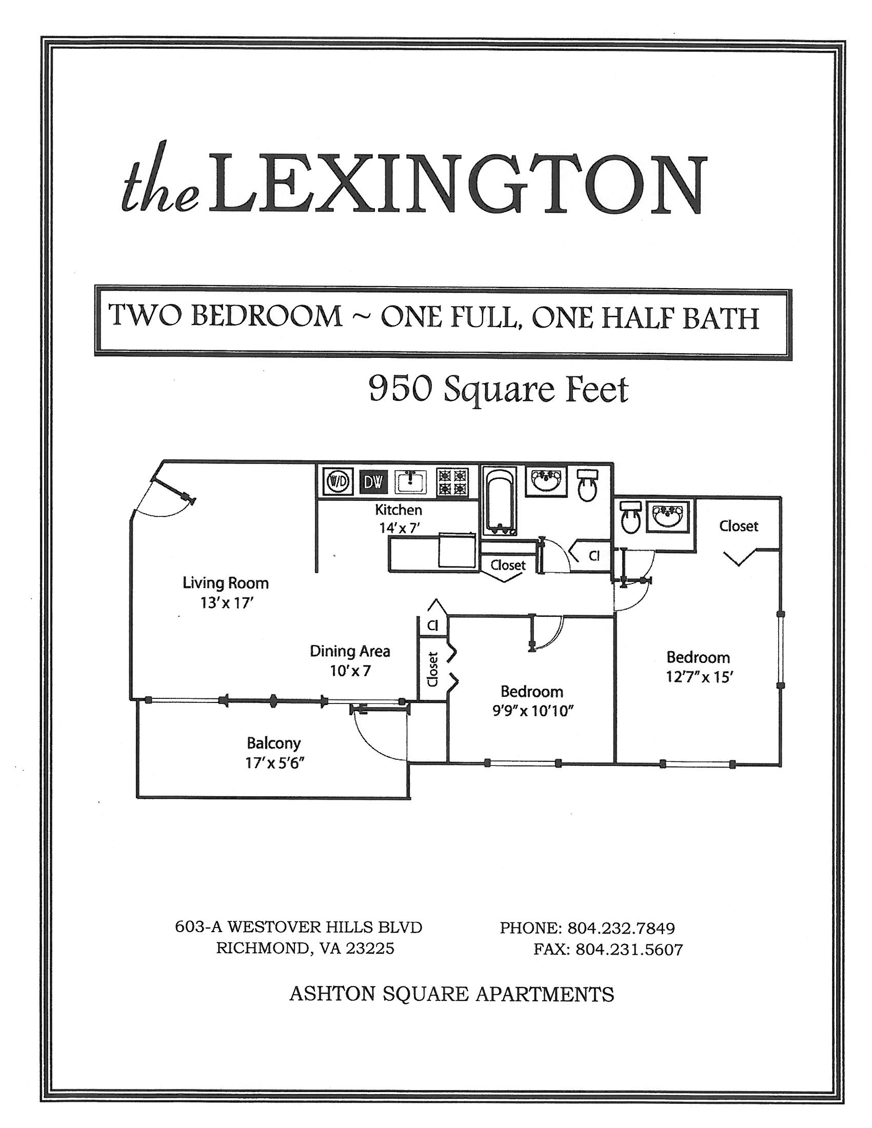 Lexington Two Bedroom One Half Bath Floor Plan at Ashton Square Apartments