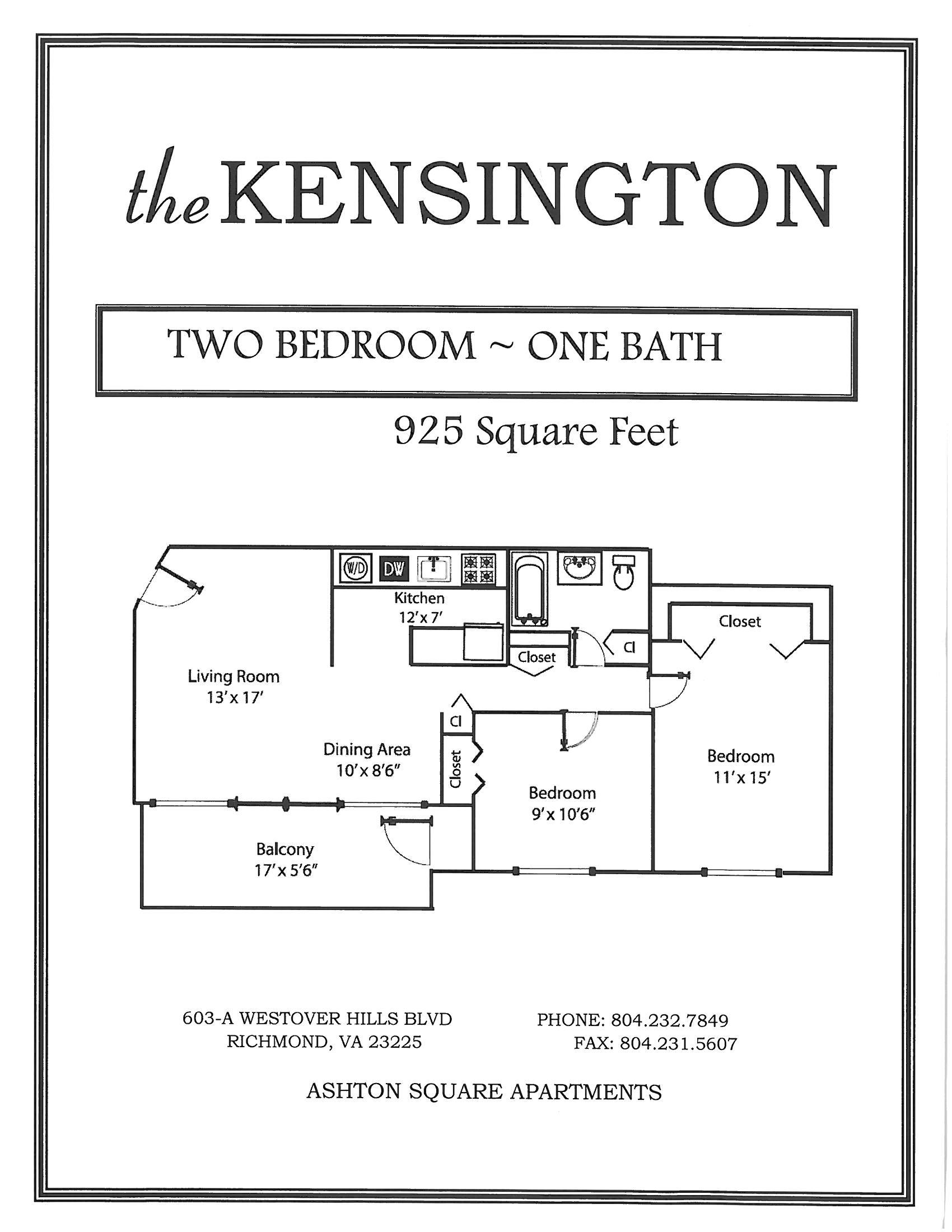 The Kensington 2 Bedroom 1 Bath Floor Plan at Ashton Square Apartments