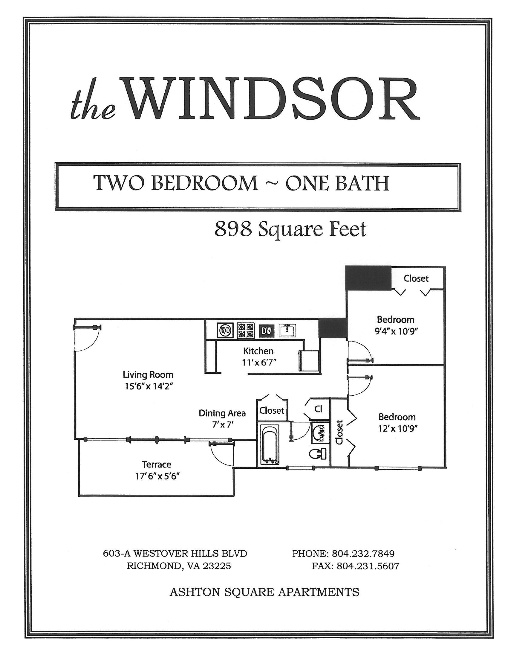 2 Bedroom 1 Bathroom Floor Plan at Ashton Square Apartments