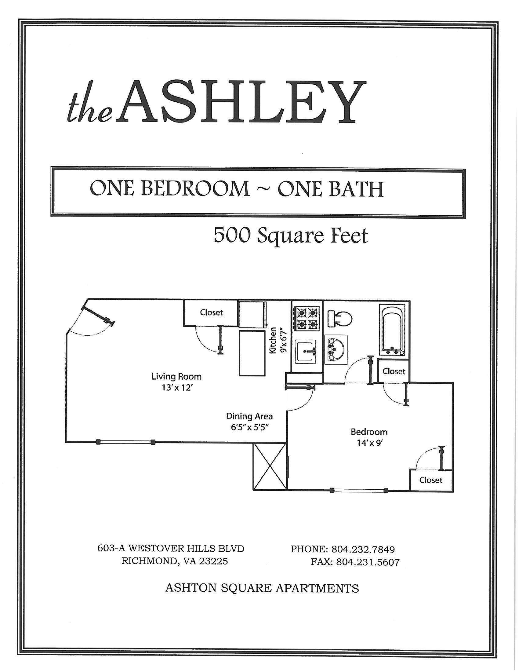1 Bedroom 1 Bathroom Floor Plan at Ashton Square Apartments