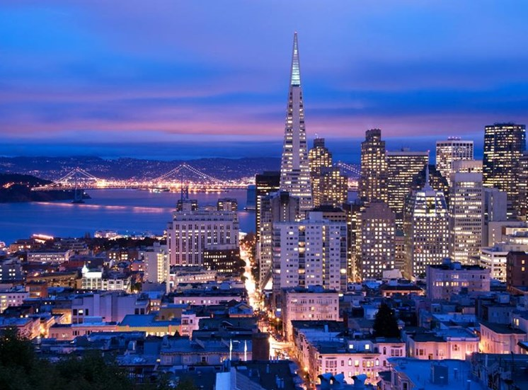 Night View of City at Arc Light, San Francisco