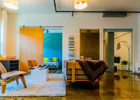 Bedrooms with Distinctive Wood and Glass Sliding Wall Panels and Polished Chrome, Dual-Head Ceiling Fans at Arc Light, San Francisco, 94107