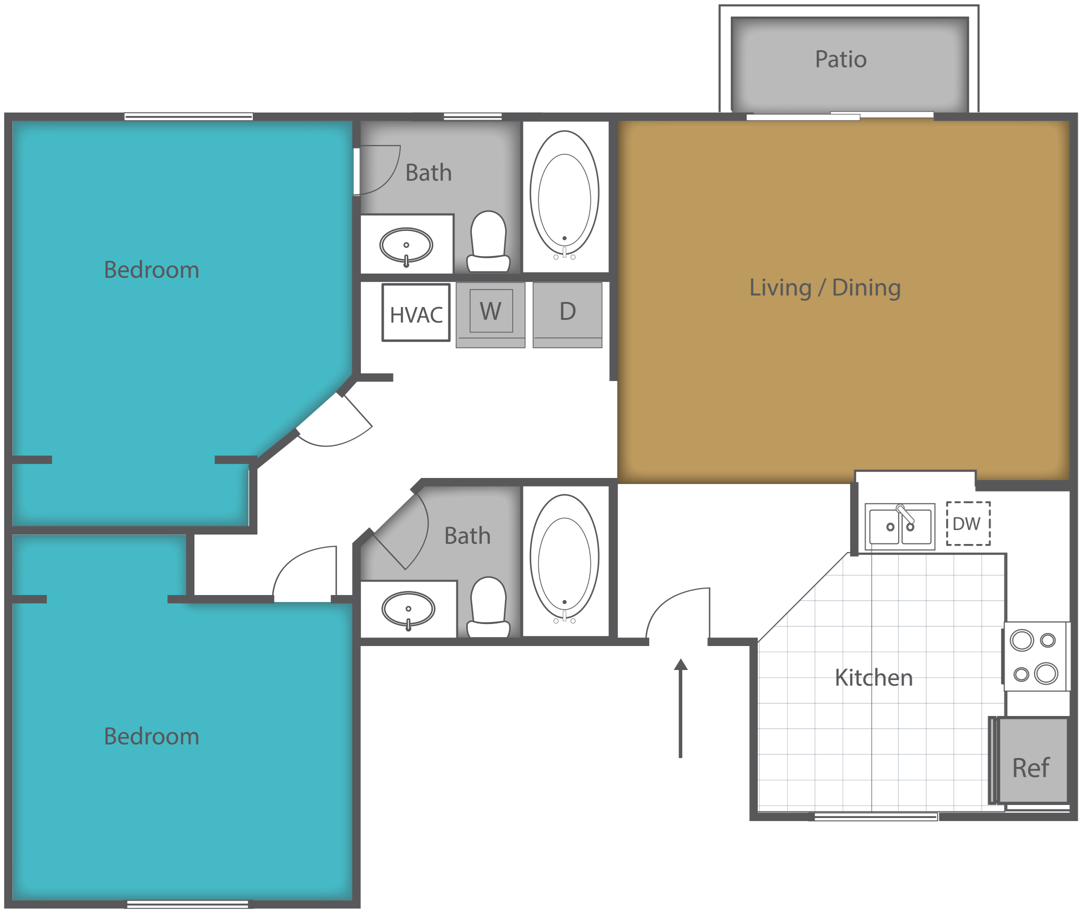2 Bed 2 Bath Floor Plan 1