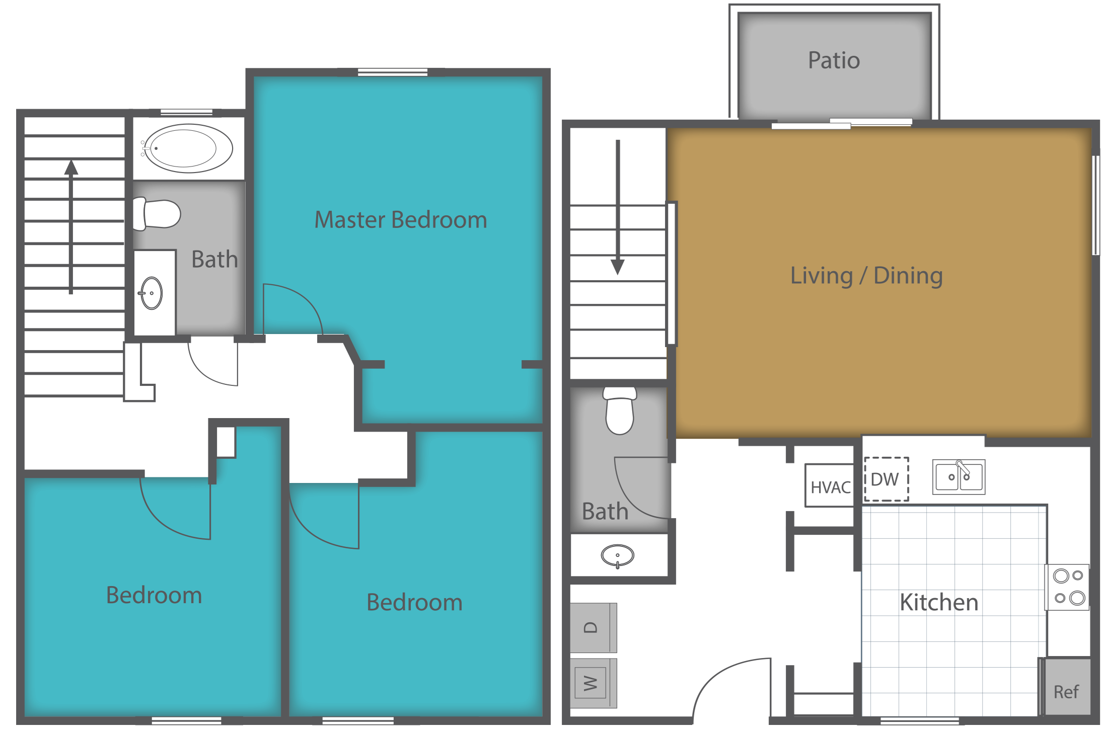 3 Bed 1.5 Bath Floor Plan 2