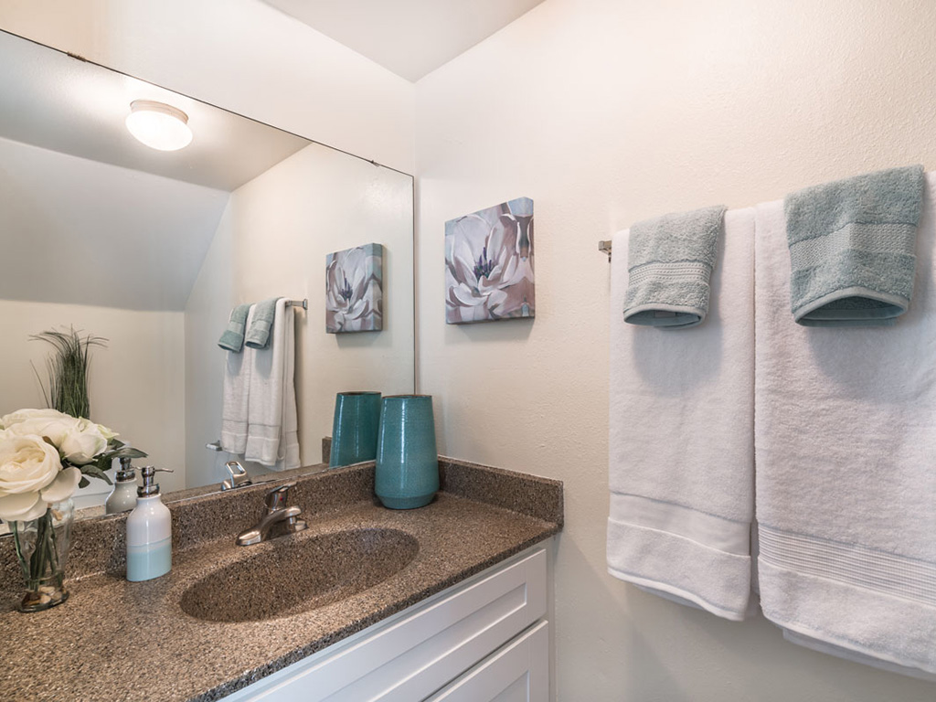 Framed mirrors and contemporary lighting give your bathroom an upscale feel at Aqua Links, Sanford Florida