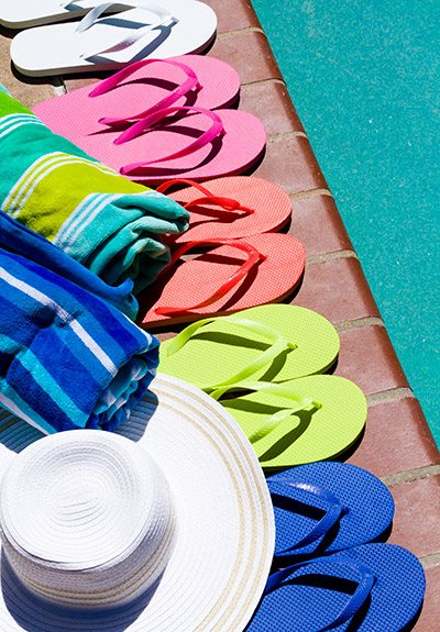 Pool side place for keeping slippers at Aqua Links, Florida
