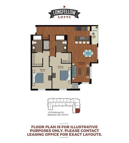 Modern - 2 Bedroom 2 Bath Floor Plan 6