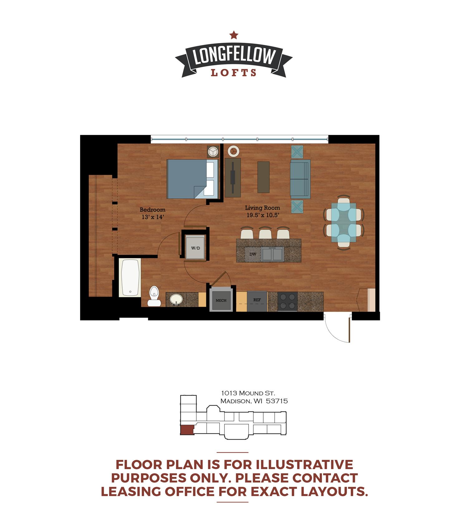 Historic - 1 Bedroom 1 Bath Floor Plan 1
