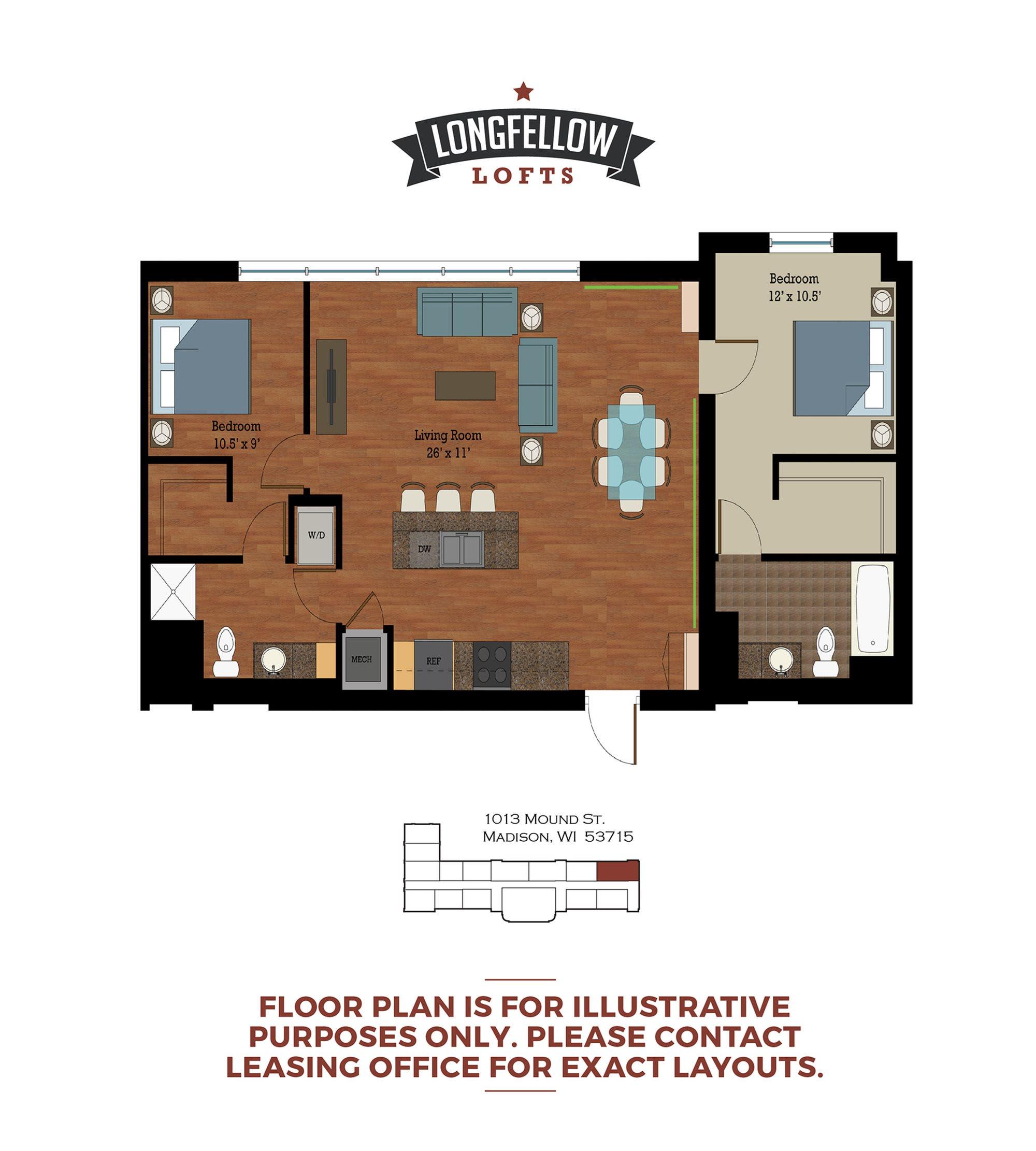 Historic - 2 Bedroom 2 Bath Floor Plan 3