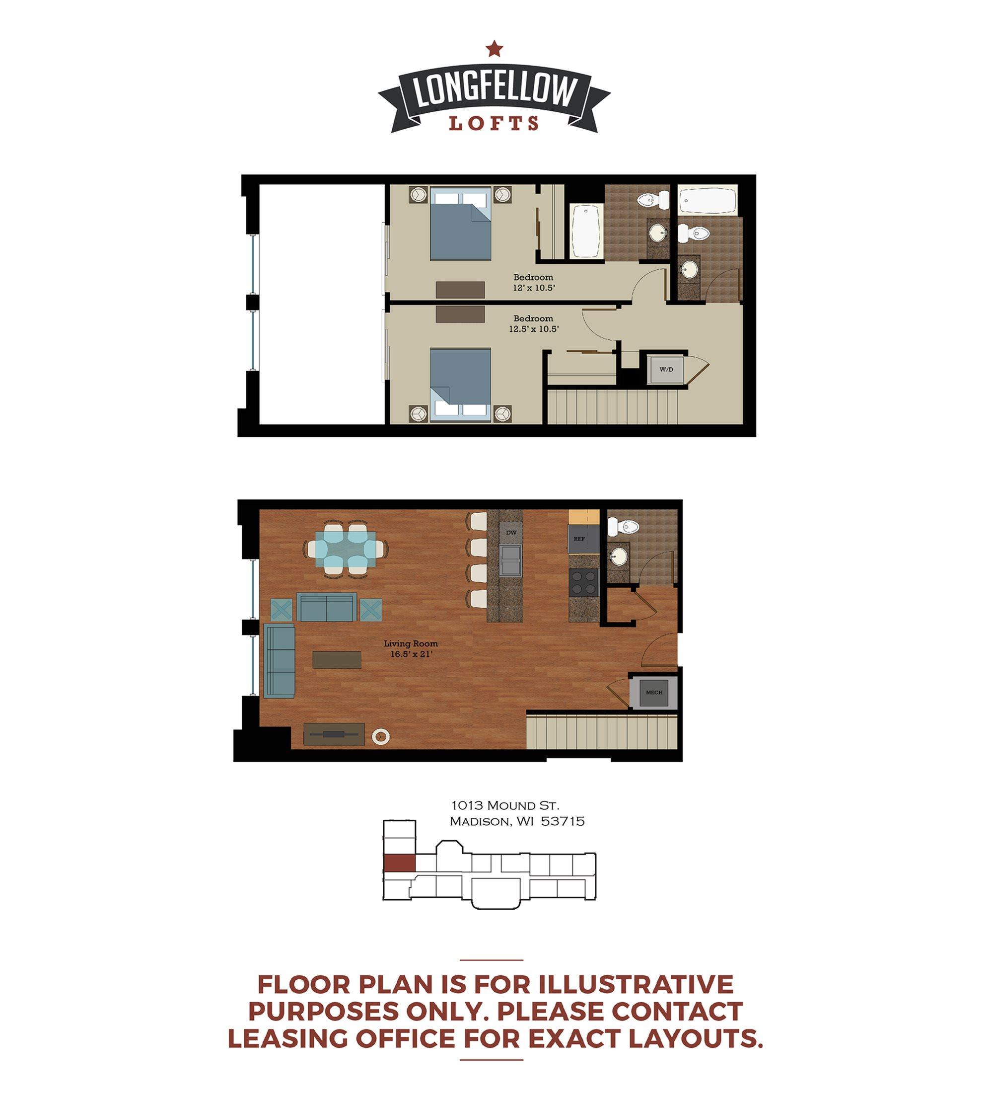 Historic - 2 Bedroom 2.5 Bath Floor Plan 4