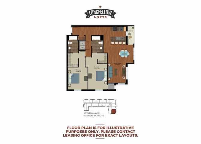 Modern - 2 Bedroom 2 Bath Floor Plan 2
