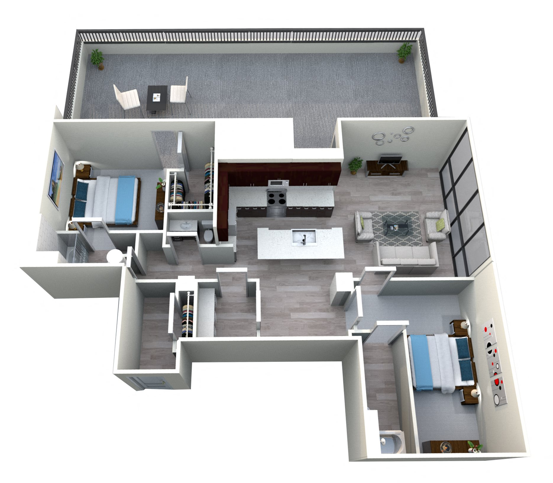 Two Bedroom Two and Half Bath Penthouse